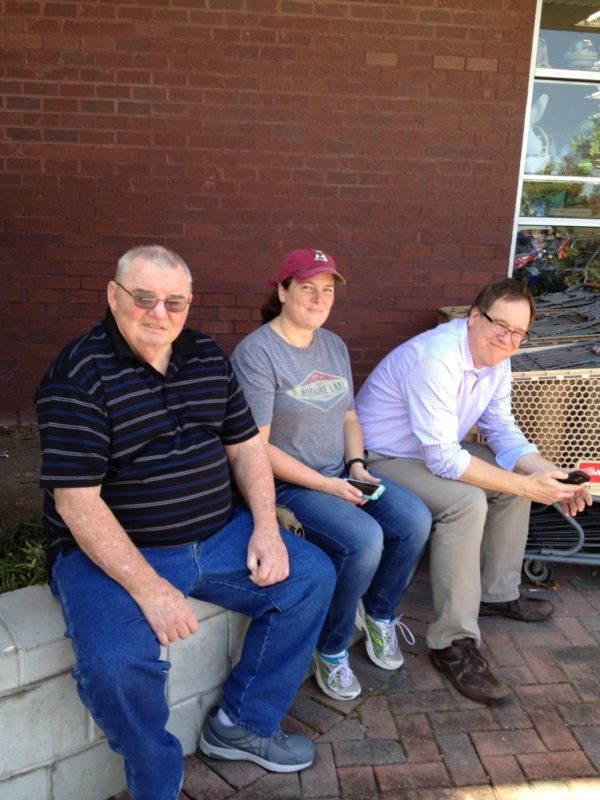 Fabgrandpa, Becca, and Ken sitting outside of AC Moore
