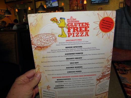 The gluten free menu