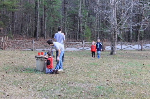 All the grandkids playing in the yard.