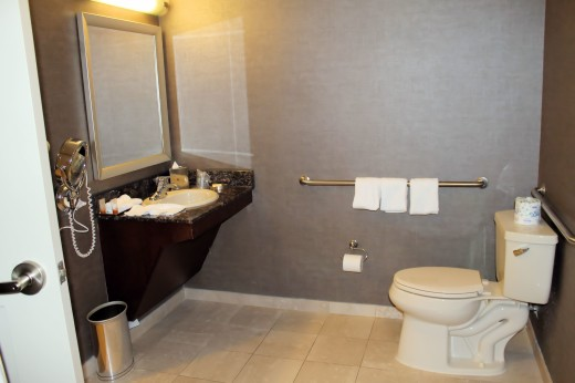 The handicap accessible bathroom has enough space to accommodate a wheelchair.