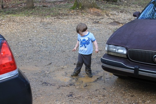 Parker stomping in a mud puddle