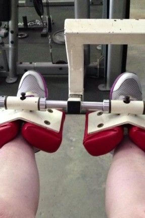 That's me working the legs at the gym.