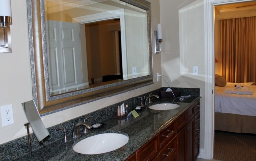There are even two sinks, so you and your hubby can get ready for the day at the same time.