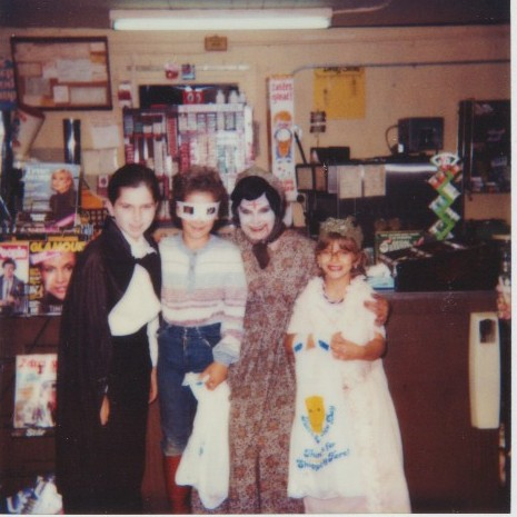 That;s my children dressed up for Halloween in 1983--Seth the vampire, Becca the Rock Star, a neighbor, and Emily the little old lady.
