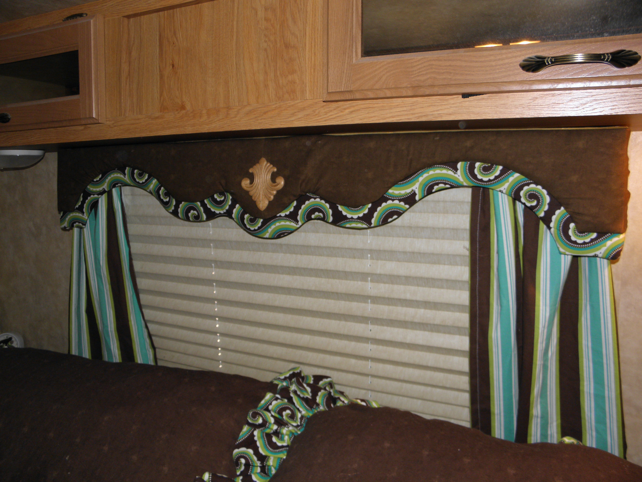 Camper window treatments - How To Recover Cornice Boards In An Rv Fabgrandma