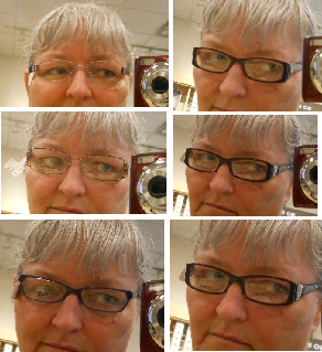 tryin on eyeglass fremes in the store
