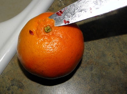 remove stem end of tangerines