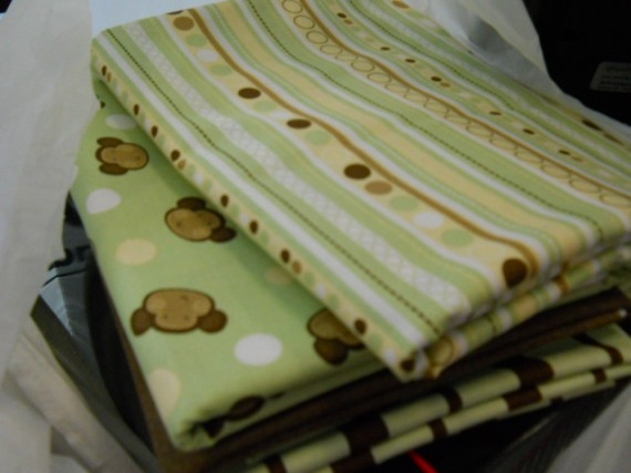 monkey fabric, green and brown fabric