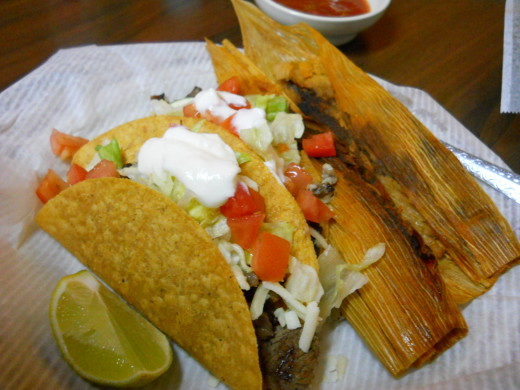 2 tacos and 2 tamales