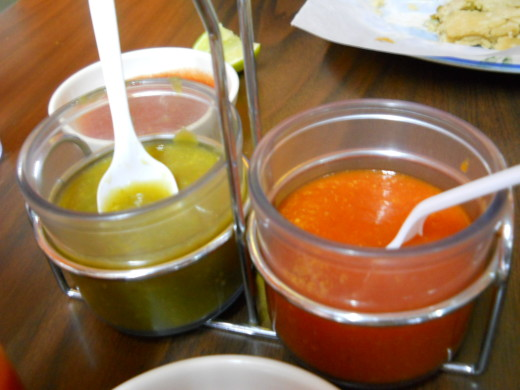 Red and green sauces