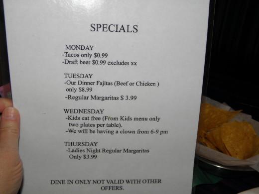 The specials menu