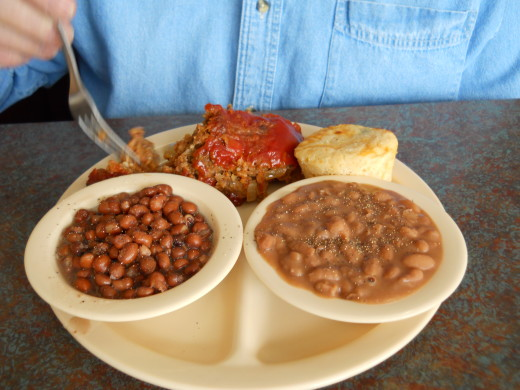 Meatloaf and beans