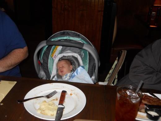 Parker sleeping off his steak, hahahaha.