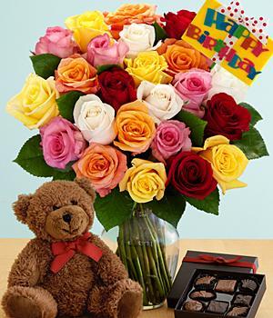 Roses, Teddy Bear Chococolates