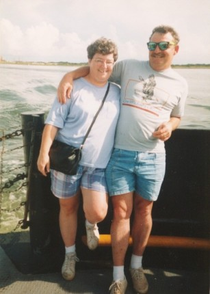 On the ferry to Cape Hatteras in 1992