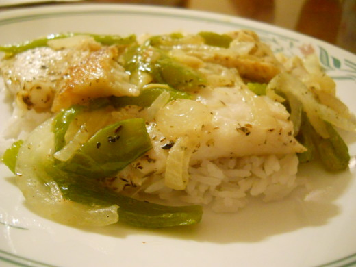 Flounder with Bell Pepper and Onions