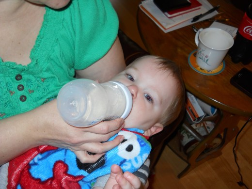 First things first! Parker was a hungry boy when he got to Granny's house.