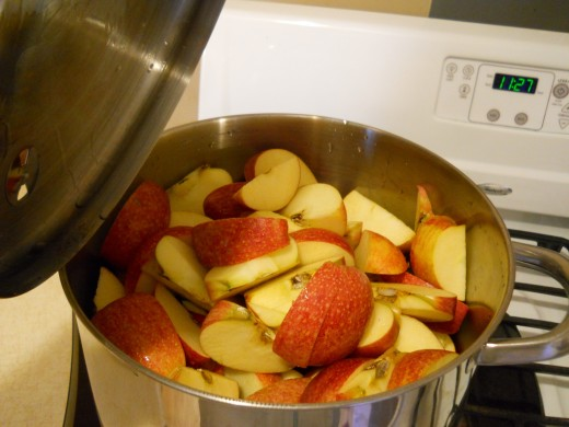 Cut up apples and put them in a large pot