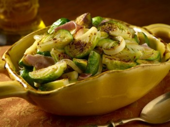 Brussels Sprouts With Caramelized Onions and Proscuitto