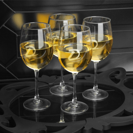 Elegant etched white wine glasses