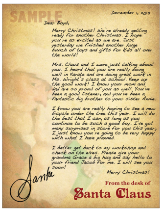 A letter from Santa to your child or grandchild is easy to send.