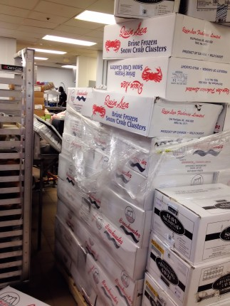 Boxes and boxes of snow crab legs!