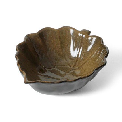 Rustic Leaves Leaf Shaped Bowl in Brown