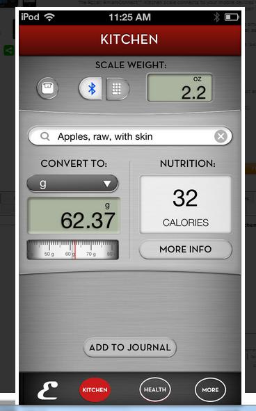 Screen shot of app
