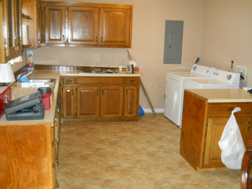 This is the kitchen when we moved in