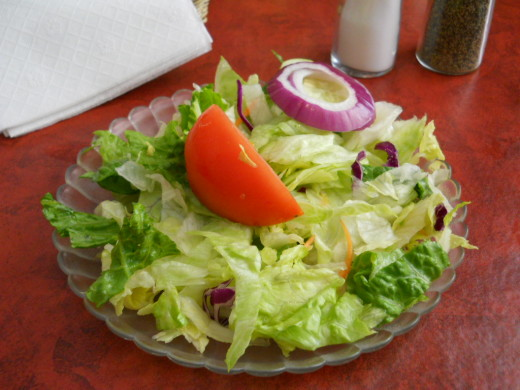 A salad is a good choice when nothing else is on the menu gluten free.