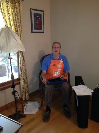 Don from Home Depot making his sales pitch in our living room.