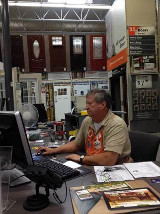 John at Home Depot ordering our door.