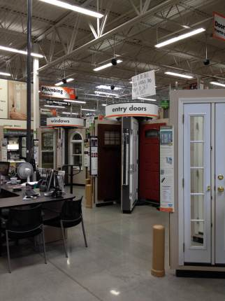 The entry door display at Home Depot