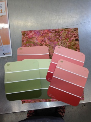 At Home Depot picking out colors. Taking my fabric with me helped me choose a good color for my kitchen walls.