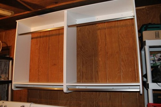 Woodtrac by sauder half hanging organizers in laundry area