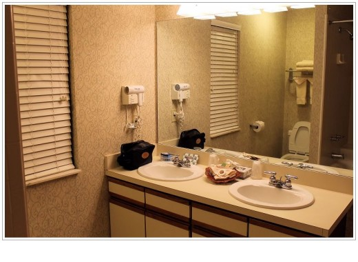 Double sinks in the bathroom.