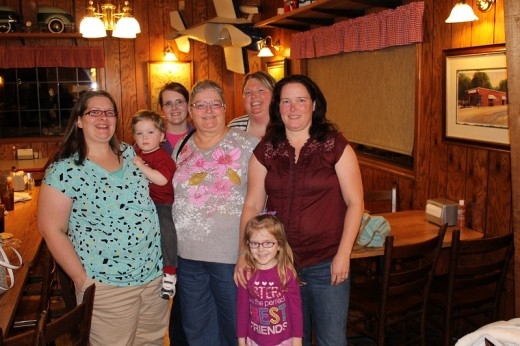 Me with all my girls: Emily, (holding Parker), Sarah, Me, Becky, and Becca, with Amelia in front.