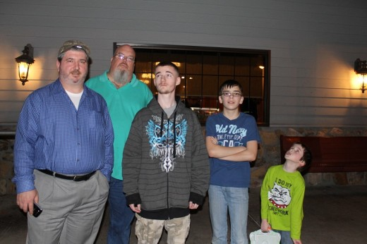 Most of the boys: Seth, Thomas, Michael, Spencer,Owen. We are missing Rafe, Fabgrandpa and Ken.