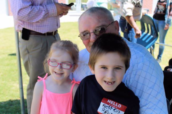 Owen and Amelia with Fabgrandpa at Michael's graduation last year.