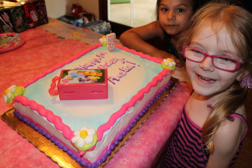 Amelia with her My Little Pony cake.