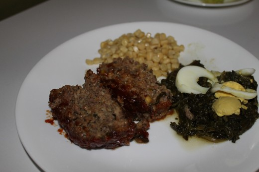 I served my Roasted Garlic and  Basil Meatloaf with corn and spinach.