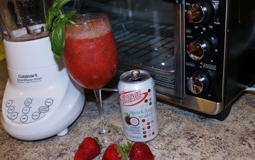 Coconut Strawberry Basil Cooler using Vintage Coconut Sparkling Water.