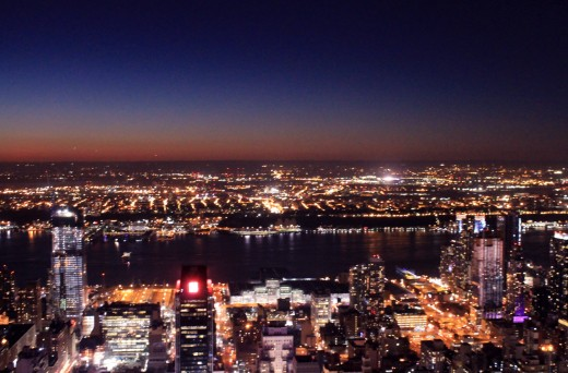 A beautiful sunset view from the 86th floor observation deck.