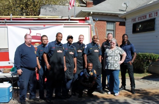 Me with the Firefighters from Station 19 and Station 30, and Atlanta Falcon Desmond Trufant