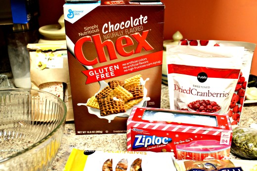 Chocolate Chex Cereal is the base for a delightful holiday party mix. Store it in Ziploc Bags for gifting!
