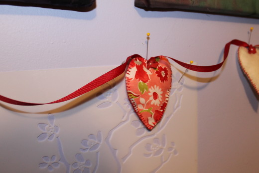 Close up of fabric heart.