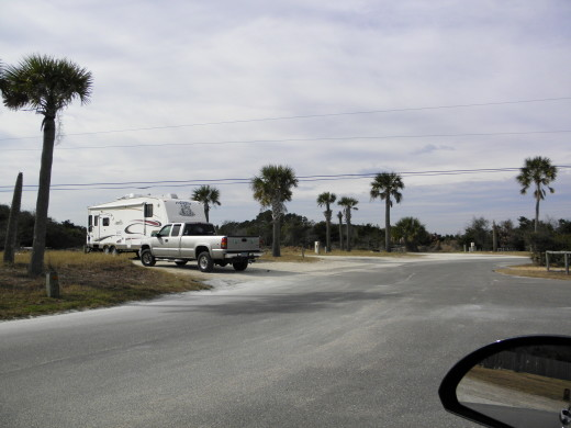 RV's camped at Fort Clinch State Park