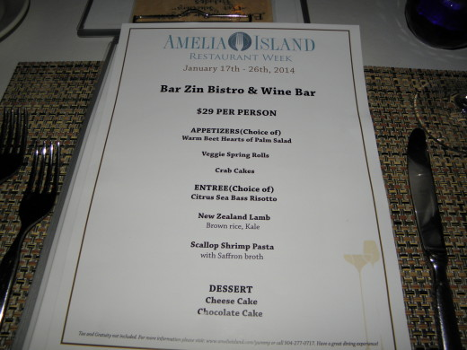 BarZin's Restaurant Week Menu