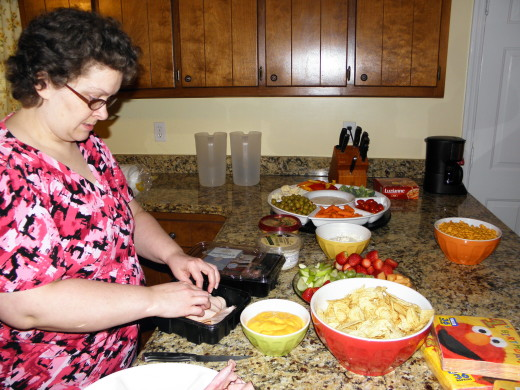 Mommy preparing the food
