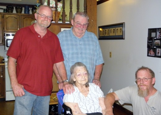 Nana with three of her sons last year at Poppa's Celebration of Life.
